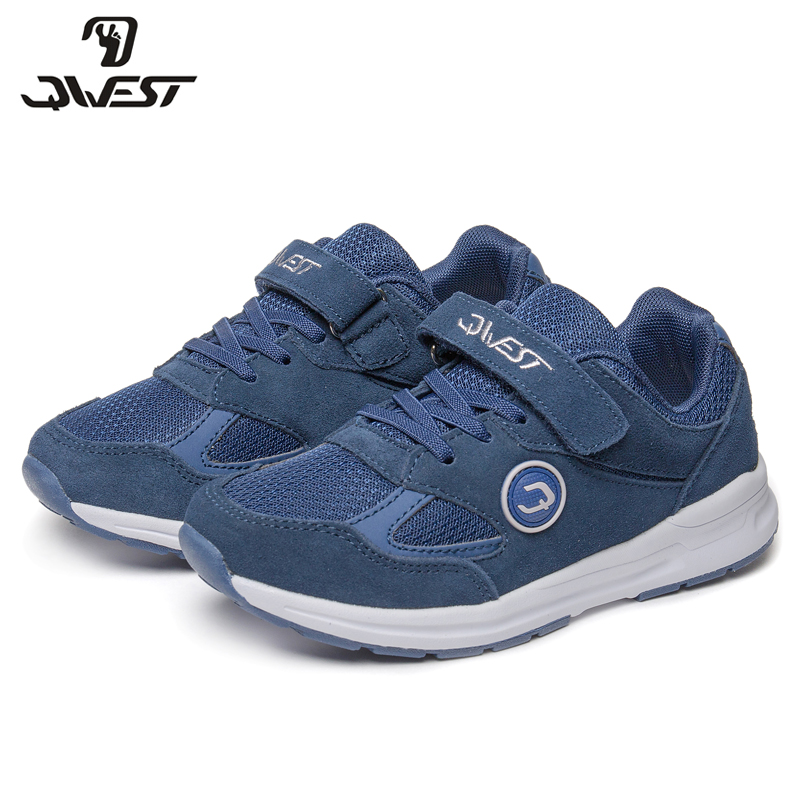 QWEST Brand Solid Arch Hook& Loop Children Sport Shoes Spring& Summer Size 30- 36 Kids Sneaker for Boy 81K-NQ-0624 qwest print children sport spring
