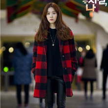 Red Plaid Wool Coat 2016 Winter Overcoat New Dress Long Section Loose Outerwear Female Woolen Trench Women Fashion Brief Coats