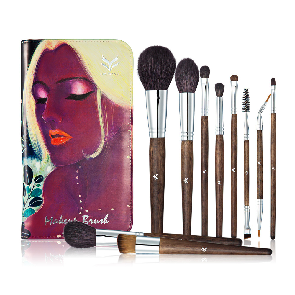 Huamianli 10Pcs Cosmetic Makeup Brushes Set Blush Powder Foundation Eyeshadow Concealer Eyeliner Lip Make Up Brush Beauty Tools 20 sets makeup brush set foundation liquid powder eyeshadow eyeliner lip concealer blending brush beauty fish cosmetics tools