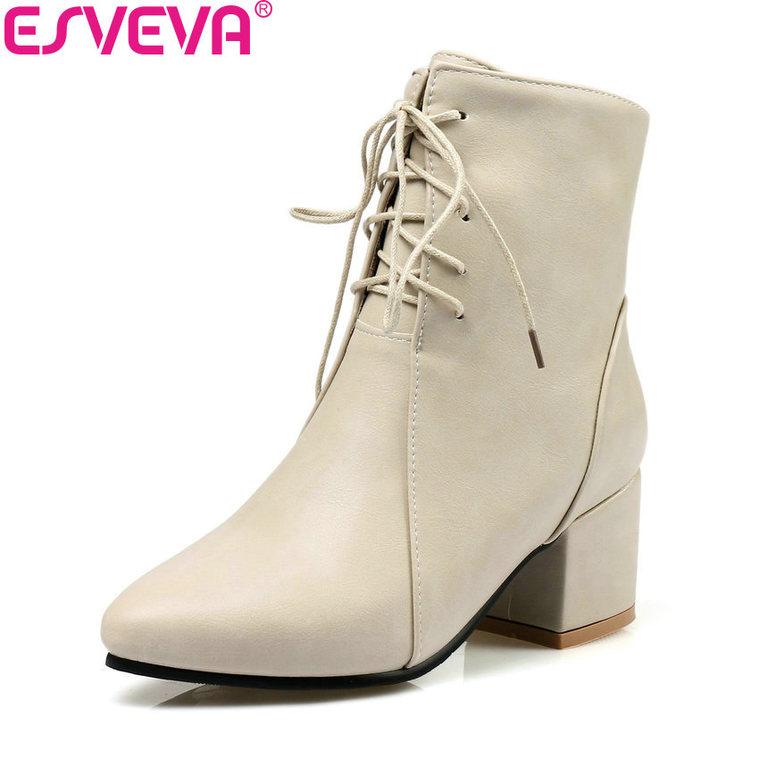 ESVEVA 2018 Women Boots Western Style Square High Heel Ankle Boots Zippers Pointed Toe Concise Ladies Fashion Boots Size 34-43 esveva 2018 women boots zippers black short plush pu lining pointed toe square high heels ankle boots ladies shoes size 34 39 page 6