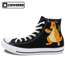 Women Men Converse Chuck Taylor Custom Pokemon Dragonite Design Hand Painted Shoes Boys Girls Sneakers High Top Canvas Shoes