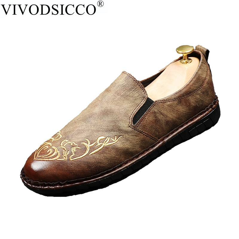 VIVODSICCO New Men's Casual Loafers Shoes Fashion Retro Slip-On Flats Genuine Leather Men Driving Shoes Man Wedding Party Shoes discount 2017 men velvet loafers genuine leather slip on rivets flat casual shoes driving mocassin wedding party shoes plus size