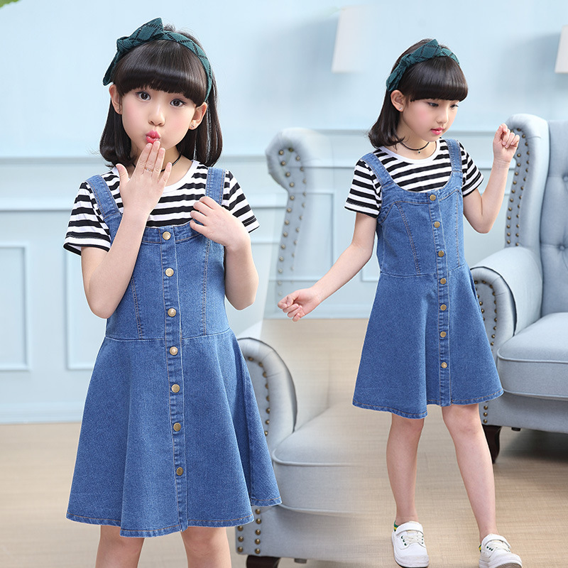 Girls Children Blue Denim Jeans Sundress Dress For Girls Kids Student Strap Suspenders Overs Dresses Vestidos Clothes New 2018 <font><b>5</b></font> image