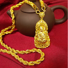 Vintage  Real Yellow Gold Plated Buddha Pendant &Necklace Twisted Chain Buddhist Beliefs Necklace Men Women