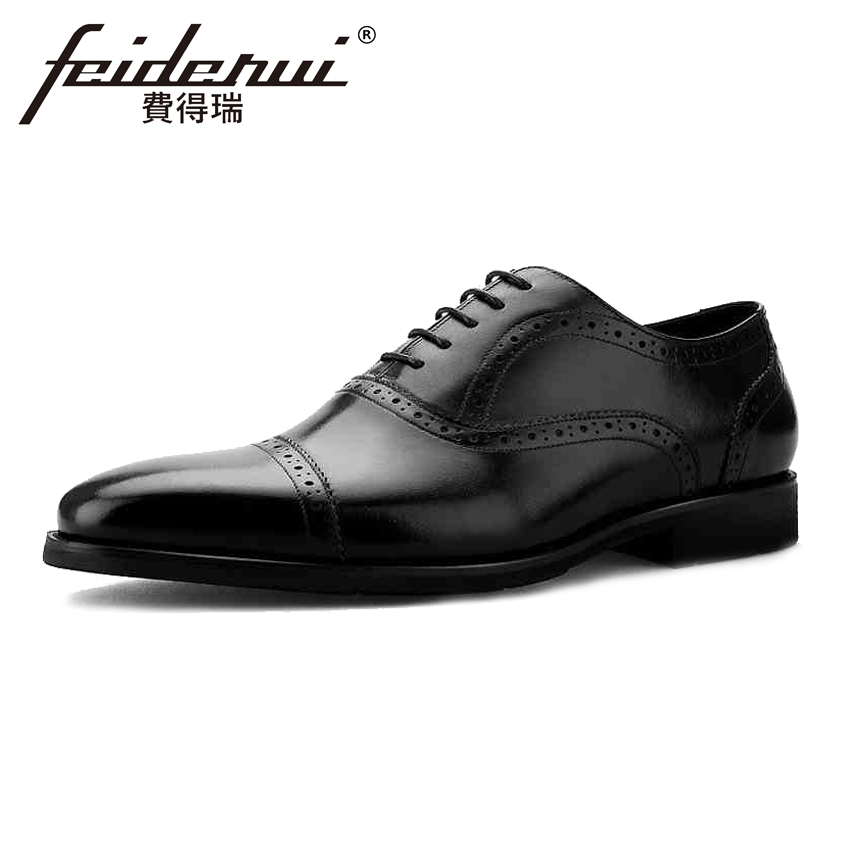 Vintage Genuine Leather Men's Wingtip Oxfords Formal Dress Round Toe Man Flats British Designer Male Wedding Brogue Shoes BQL32 british designer handmade genuine leather men s oxfords round toe man semi brogue flats formal dress wedding party shoes hqs101