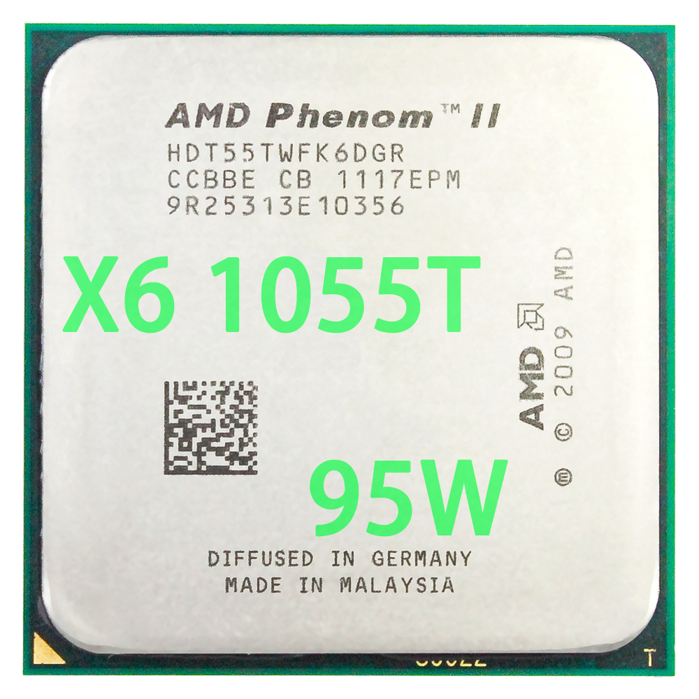 AMD Phenom II X6 1055T CPU Processor Six-Core (2.8Ghz/ 6M /95W ) Socket AM3 AM2+ 938 pin image