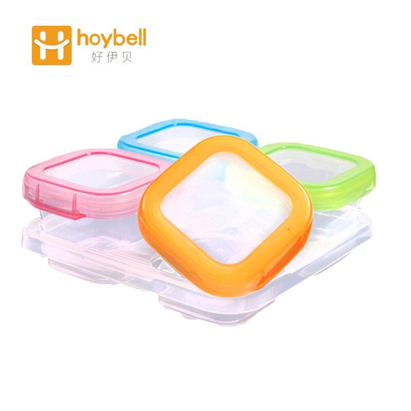 Gyermek bébiétel konténer tároló baba etetés átlátszó doboz baba étel tartály 4db / készlet Élelmiszer minőségű PP