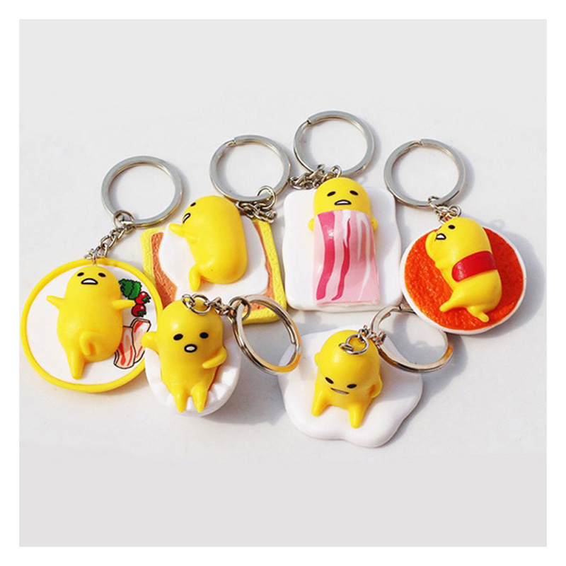 6PCS/Set Funny Yellow Lazy Egg Keychain Gudetama Pendant Keyring Naughty Figure Toy Suit For Kids Fashion Creation From Japan