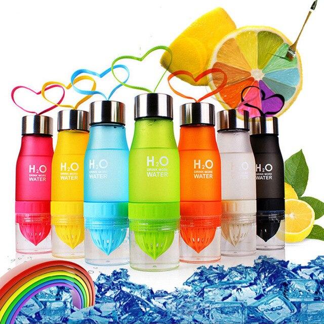 2017 Xmas Gift 700ml Water Bottle H20 plastic Fruit infusion bottle Infuser Drink Outdoor Sports Juice lemon Portable Water