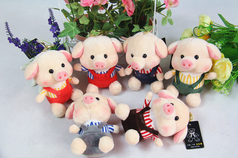 10cm lovely piggy pig plush keychain pendant bag ornament car key ring, cute pig stuffed animal doll pendant