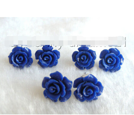 hot sell new Free shipping Superb 3pair 12mm blue carved rose flower earrings 925s a0740