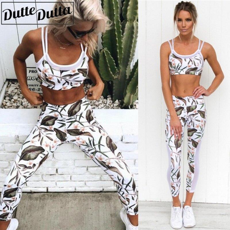 2018 Yoga Sport жиынтығы Floral Print Vest Tants Фитнес - Спорттық киім мен керек-жарақтар - фото 1