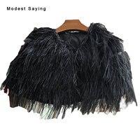 Luksusowe Black Ostrich Feather Bridal Kurtka 2017 Futro Bolerka Ślubne na suknie wieczorowe para Akcesoria YB1 novias Ślub Przylądka