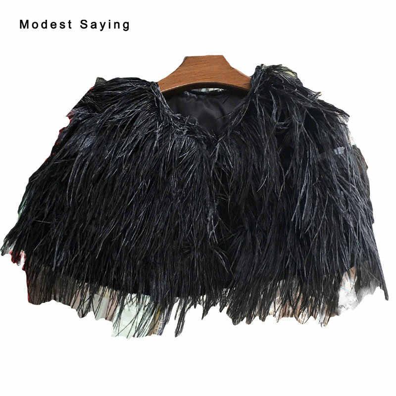 Luxury Black Ostrich Feather Bridal Jacket 2017 Wedding Fur Boleros for evening  dresses para novias Cape 47caf9f3dc53