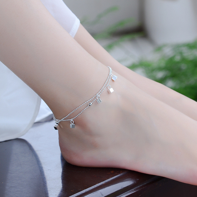 TJP Trendy Box Shaped Silver Anklets For Women Jewelry New Fashion Girl Silver 925 Bracelets Jewelry Lady Lovers Christmas Gift