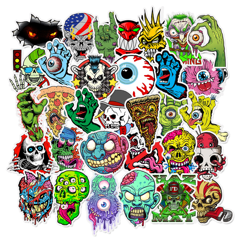 50pcs Terror Sticker Graffiti Skeleton Dark Funny Stickers For DIY Sticker On Travel Case Laptop Skateboard Guitar Fridge