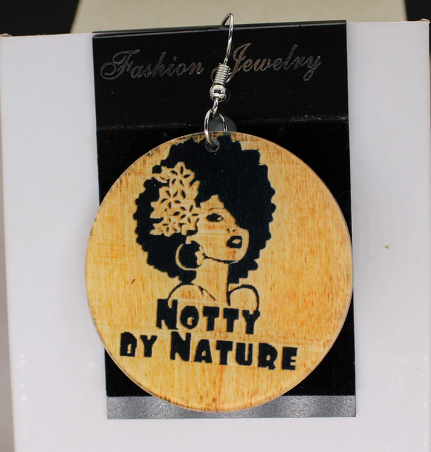Afro Notty By Nature Earrings Custom Africa Earring Charms 2 Sided Logo Text Picture