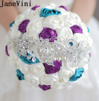 JaneVini 2018 High Quality Crystal Satin Flowers Ivory Wedding Bouquet Roses Brides Luxury Diamond Pearl Bridal Bouquet Broach
