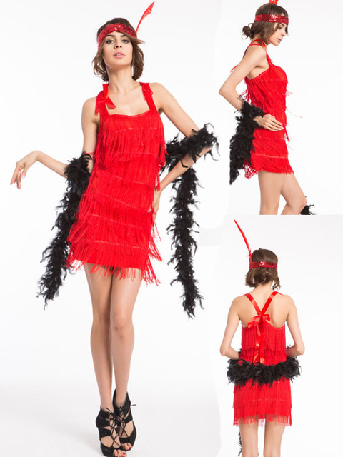 Free Shipping Party Costume Sexy Chartan Flapper Costume Red Adult