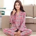 Primavera roupa em casa de pijama Pijama de algodão longo-manga de algodão xadrez de inverno casa das mulheres 2017 Primavera Verão