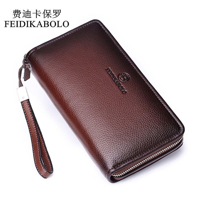 FEIDIKABOLO Luxury Male Leather Purse Men's Clutch Wallets Men Brown Dollar Price Handy Bags Business Carteras Mujer Wallets