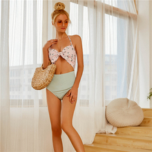 Backless High Waist Bikinis Female 2019 Floral Bow Swimwear Women Off Shoulder Padded Strappy Cut Out Swimsuit Beach For Teen off shoulder cut out floral blouse
