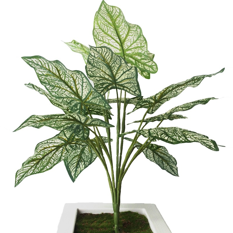 50cm Artificial Plants Small Monstera Tree Home Garden Decoration 18 Leaves Plastic Green Artificial Fake Plants Table Decor