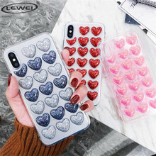 купить Fashion Bling Glitter Heart Glue Silicon Body Case For iPhone 7 8 X XR XS Max 5s 6 6s Plus Back Cover 3D Loves Sequins Soft Case дешево