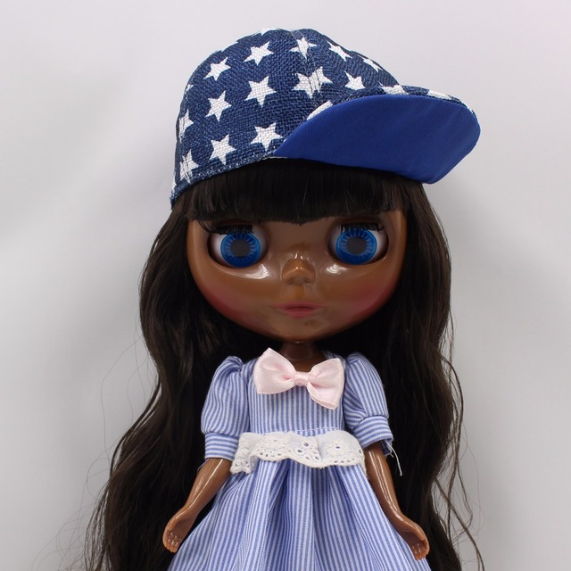 Factory Neo Blythe Doll Black Skin Black Hair Regular Body 30cm