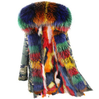Parkas Chất Lượng cao 2017 Bất Fur Coat Mùa Đông Áo Khoác Nữ Coat Multicolor Gấu Trúc Tự Nhiên Lông Cổ Áo Dày Ấm Lông Lót Parka