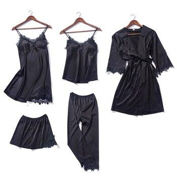83651a01fb280 Product Offer. Женские ночные сорочки с острым вырезом, 5 шт., пижамный  комплект, кружевной халат, сексуальная женская одежда для сна, красная  пижама ...