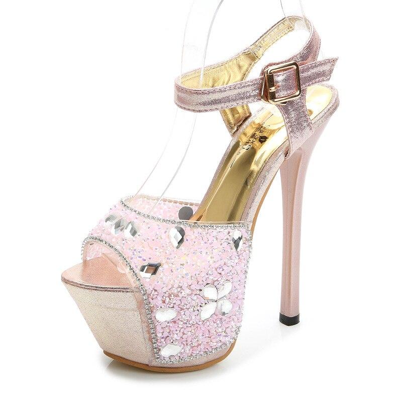 Rhinestone Sandals 16cm High Heels Peep Toe Summer Women Shoes Buckle Strap Stiletto Elegant Lady Party Wedding Platform Sandals