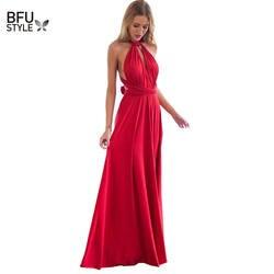 Сексуальное женское многополосное обёрточная бумага Кабриолет Boho Maxi Клубное красное платье Бандажное длинное вечерние для вечеринки