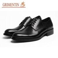 Grimentin Модная брендовая мужская формальная обувь натуральная кожа Черный Коричневый Черный Итальянский оксфорды Мужская обувь 2018 Новые