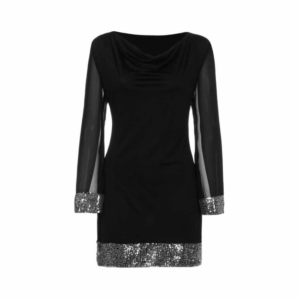 5329f5128f22 ... Spring Dress V-Neck Silver Sequin Long Sleeve Casual Above Knee Black  Patchwork Dress Women ...