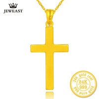 24k Pure Gold Cross Charms For Women Exquisite Workmanship Classic Melon Button Beautiful And Fashion 999