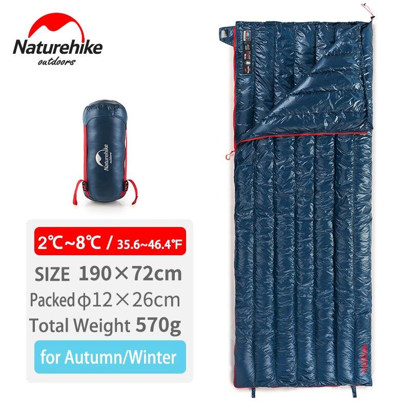 Naturehike Ultralight Sac de Couchage En Duvet D'oie Automne Hiver Chaud Cousu Sac De Couchage Unique NH17Y010-R