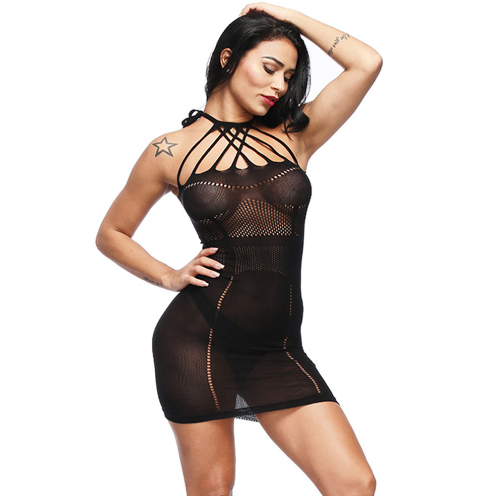 089ca99ef summer dress 2018 Women s Sexy Mesh Lingerie Fishnet BabyDoll Free Size  Dobby Bodysuit Mini Dress sexy sleepwear dress-in Nightgowns   Sleepshirts  from ...