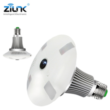 ZILNK NEW 1.3MP 960P HD Fisheye 360 Degree Panoramic Lamp Light Bulb Camera IP Two Way Audio SD Card Security CCTV VR Cam White