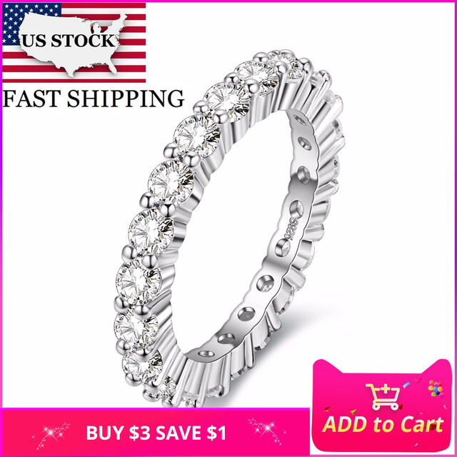 US STOCK Wedding Engagement Fashion Rings for Women Anillos Silver Color Band Ring Bague En or Mariage Jewelry Bague Gifts Y041