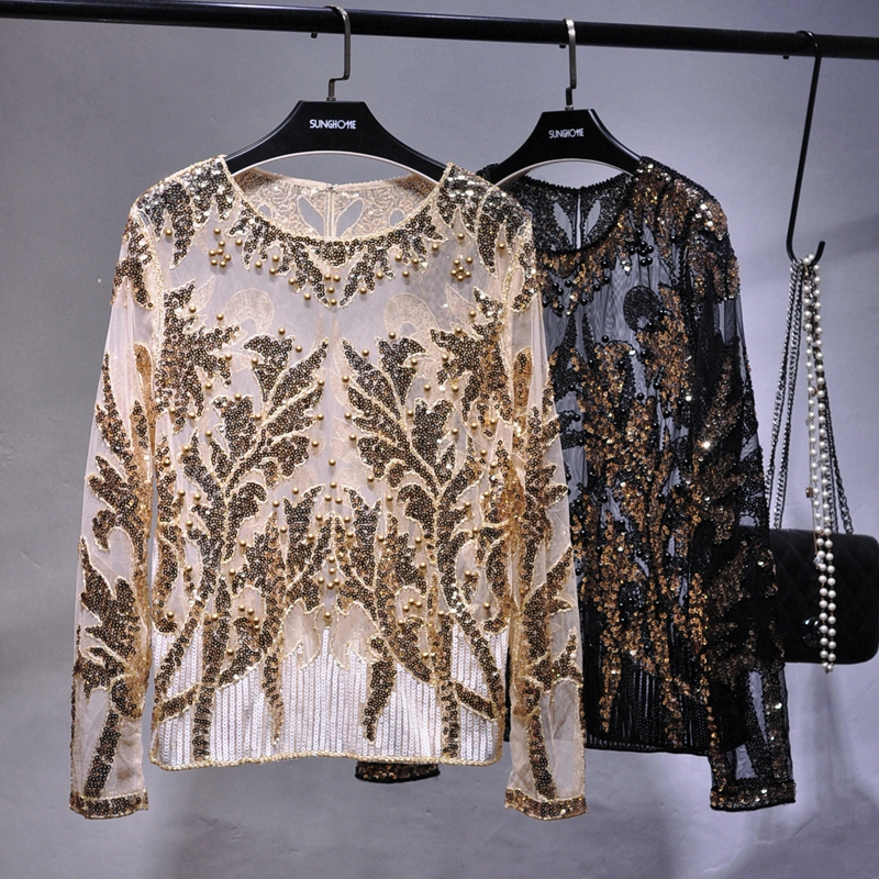 Sexy Sequined Embroidery Rose Flower Shirt Shiny Transparent Gauze Heavy Beading Blouses Blusa Camisa Luxury Party Club Tops Blouses & Shirts