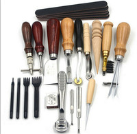18PCS DIY Leather Craft Punch Tools Kit for Stitching, Carving Work, Sewing Saddle