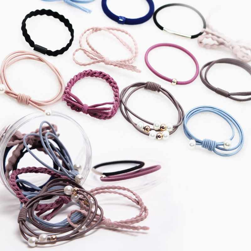12Pcs Korean Basic Hair Ropes Women Elastic Hair Bands Pearls Bow Simple Hair Accessories Scrunchy Fashion Ponytail Holders