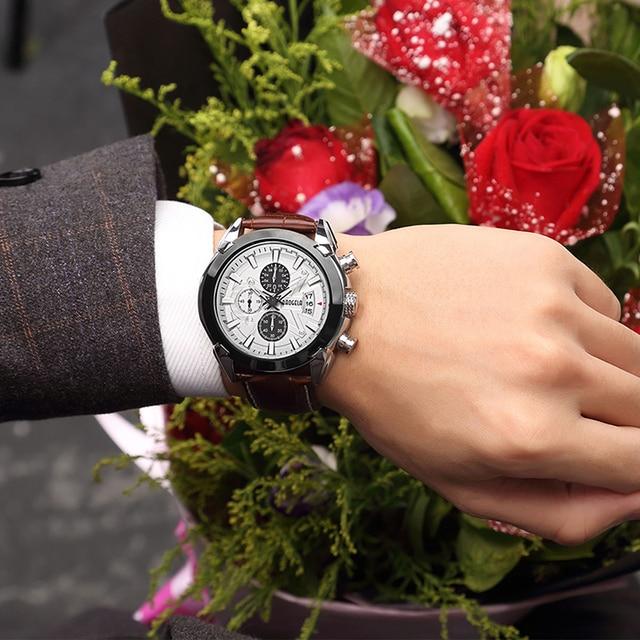 70ea6dfbcd9a Reloj de cuarzo BAOGELA para hombre, relojes marca cuero lujo moda  analógicos, cronógrafo Casual reloj pulsera luminoso hombre