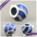 2016 Winter NEW Adornment Translucent With Royal Blue Enamel and Clear CZ Charm S925 Sterling Silver Fit European Bracelets B415