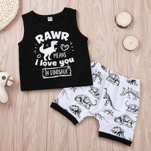 Chamsgend Baby Baby Boy Kid Brief Cartoon Dinosaurus Gedrukt Tops Vest + Shorts Outfits Set 19APR26 P35(China)