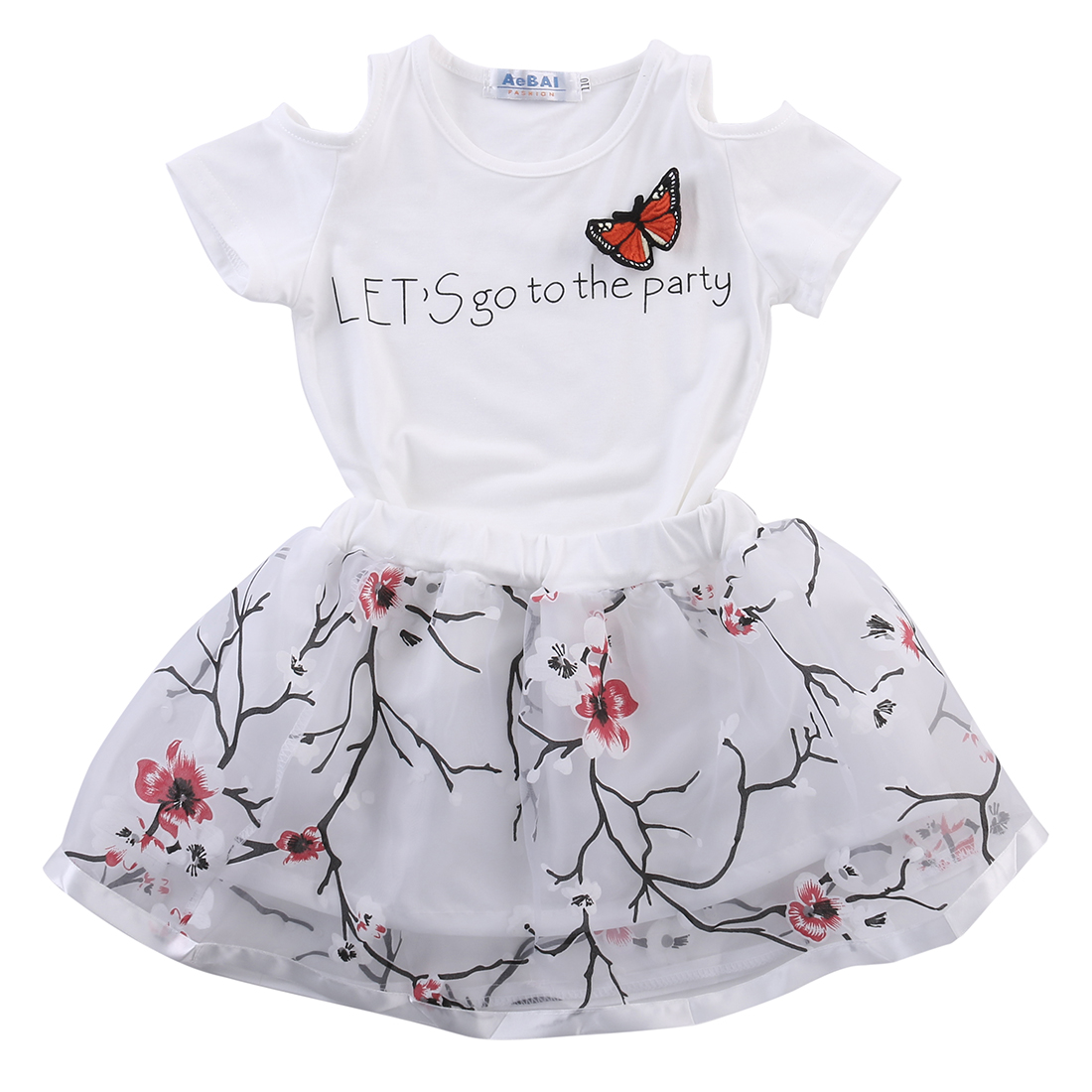 Kids Baby Girls Butterfly T shirt+Floral Skirt Dress Party Off Shoulder Clothes