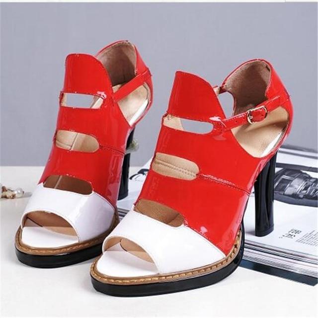 eb16c3d7ec9 Women High Heel Platform Sandals Fretwork Heels Sandalias Femininas Moda  2017 Mixed Colors Cover Heels Buckle Strap Women Shoes
