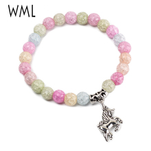 Natural stone colorful beads women bracelet unicorn charm Lucky girl unicorn bracelets & Bangles for women jewelry daughter gift fine lavender purple natural crystal bracelets fox pendant evil spirits help marriage lucky for women girl gift bracelet jewelry