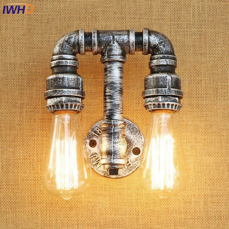 IWHD Iron Water Pip Loft Style LED Wall Lamp Industrial Vintage Wall Lights Simple RH Retro Wall Sconses Fixtures Home Lighting iwhd loft style creative retro wheels droplight edison industrial vintage pendant light fixtures iron led hanging lamp lighting